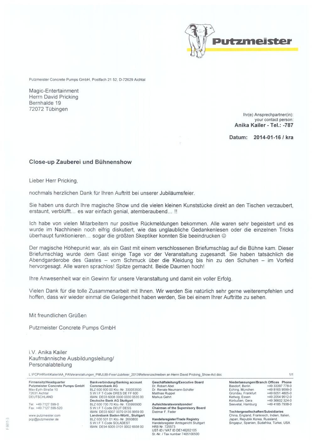 Referenz der Firma Putzmeister