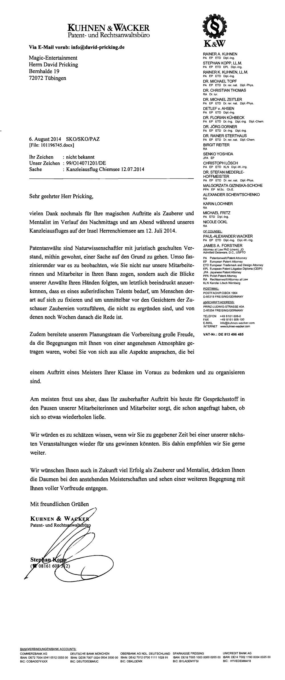 Referenz von Kuhnen und Wacker